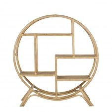 Etagère ronde en rotin cannage en bambou