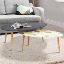 Lot de 2 tables basses gigognes laquées gris motifs blanc jaune gris