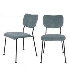 2 chaises en velours côtelé gris