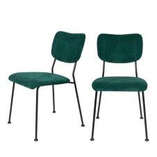 2 chaises en velours côtelé vert forêt