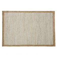 Tapis en coton blanc et jute tissés main 140×200