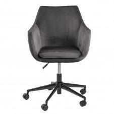 Chaise de bureau à roulettes en velours gris foncé