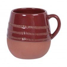 Mug en grès brun motifs graphiques