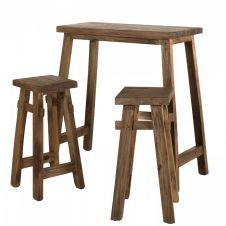Set de bar esprit brocante 1 table 2 tabourets bois mahogagny