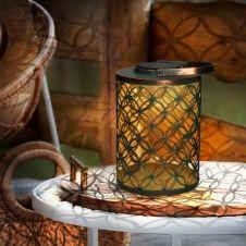 Lanterne solaire à LED motifs rosaces à poser ou suspendre