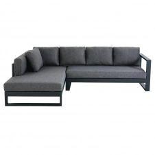 Canapé d'angle de jardin 4/5 places en aluminium noir Thetis