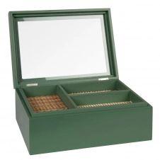 Boîte à bijoux vitrine verte