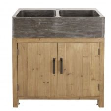 Meuble bas de cuisine pour évier 2 portes en pin recyclé effet vieilli Aubagne
