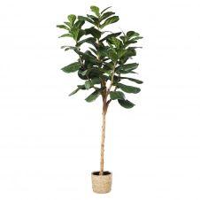 Ficus artificiel et pot tressé