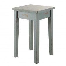 Tabouret vert de gris vieilli effet carreaux de ciment