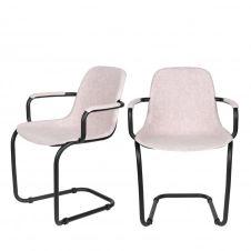 2 chaises avec accoudoirs en plastique rose pastel