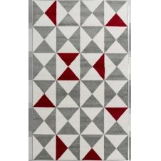 FORSA – Tapis géométrique rouge 80x150cm