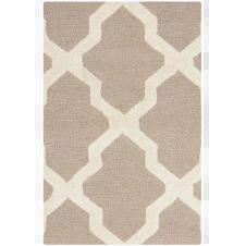 Tapis de salon géométrique beige et ivoire 91×152