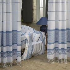 CARTHAGE – Rideau ajustable 100% coton blanc et bleu 140 x 290 à 320