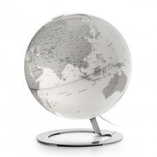 IGLOBE CHROME – Globe terrestre de design, lumineux, textes en anglais