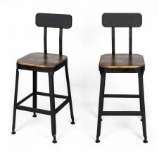 2 chaises de bar métal noir et bois foncé 63cm