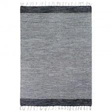 Tapis 100% coton bandes noir-gris-blanc 160×230