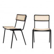 2 chaises en cannage noir