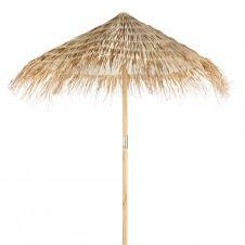 Parasol en sapin et fibre végétale tressée