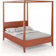 Lit baldaquin tête de lit et sommier hêtre massif 140x200cm