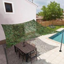 Voile d'ombrage rectangulaire design ombrière camouflage 4x6m treillis vert