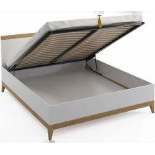Lit avec tête de lit sommier massif blanc 160x200cm