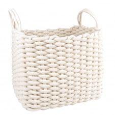 Panier rectangulaire en coton blanc