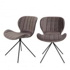 2 chaises velours gris