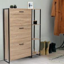 Meuble à chaussures LUIS 3 portes avec étagère design industriel