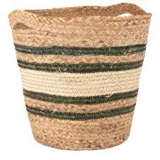 Panier en fibre végétale et fibre de maïs vert et blanc