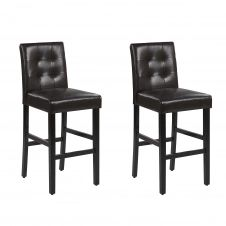 Lot de 2 chaises de bar en simili-cuir marron