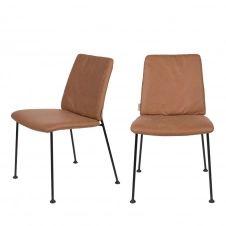 2 chaises en tissu micro-perforé marron foncé