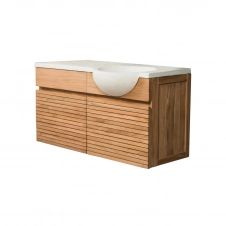 Meuble salle de bain suspendu en teck avec vasque crème L100cm