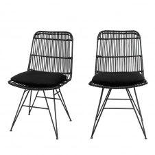2 chaises design en rotin noir