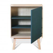 Armoire 1 porte en bois bleu frehel