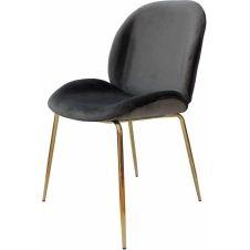 Chaise rembourrée assise gris foncé pieds doré (lot de 2)