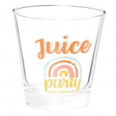 Gobelet en verre transparent imprimé multicolore