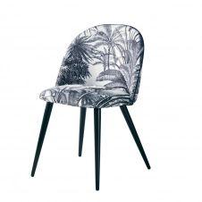 Chaise vintage imprimé jungle noir et métal imitation chêne