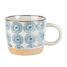 Mug en faïence blanche motifs bleus