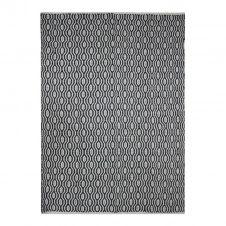 Tapis 100% coton géométrique écru-noir 120×170