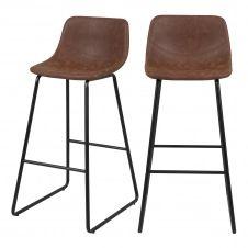 Chaise de bar 76 cm en cuir synthétique marron (lot de 2)