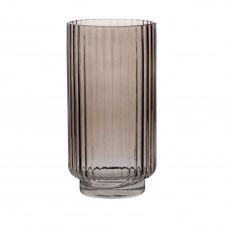 Vase en verre strié fumé rose H24