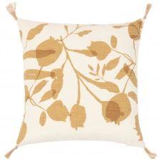 Housse de coussin en coton imprimé floral beige et jaune moutarde 40×40