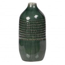 Vase bouteille en grès vert à motifs H24