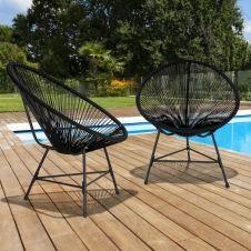 Lot de 2 fauteuils de jardin IZMIR noirs design oeuf avec cordage plastique