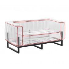Canapé 2 places tpu transparent cadre en aluminium passepoil rouge