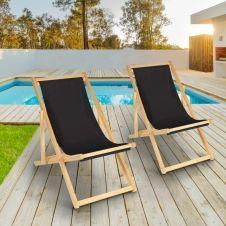 Lot de 2 chaises longues pliantes chilienne bois avec toile noire