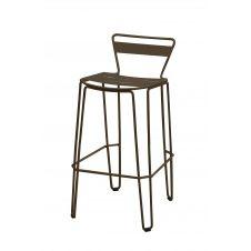 MALLORCA – Chaise haute en acier gris taupe