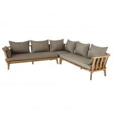 Canapé d'angle de jardin 4/6 places en acacia massif et toile taupe Noumea