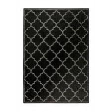 Tapis outdoor noir motif oriental gris pour entrée, extérieur 170×120